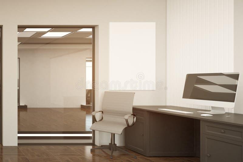 Νέο γραφείο με το κενό έμβλημα ελεύθερη απεικόνιση δικαιώματος