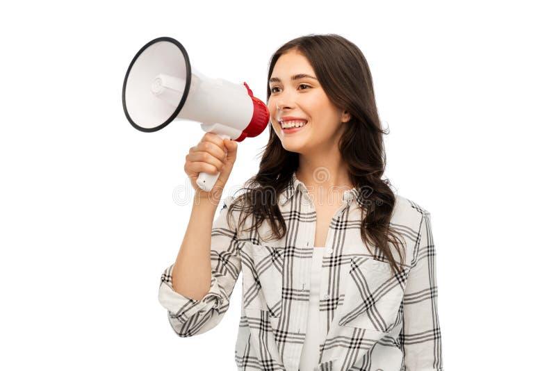 Νέο γυναίκα ή έφηβη με megaphone στοκ εικόνα με δικαίωμα ελεύθερης χρήσης
