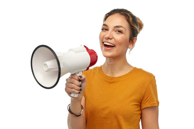 Νέο γυναίκα ή έφηβη με megaphone στοκ φωτογραφίες