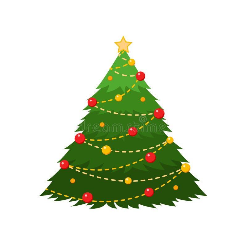 Νέο δέντρο έτους με τις σφαίρες, επίπεδη διανυσματική κάρτα διανυσματική απεικόνιση