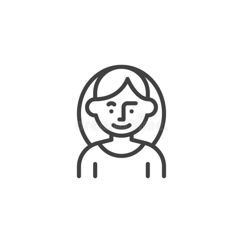 Νέο εικονίδιο γραμμών χαρακτήρα ειδώλων γυναικών διανυσματική απεικόνιση