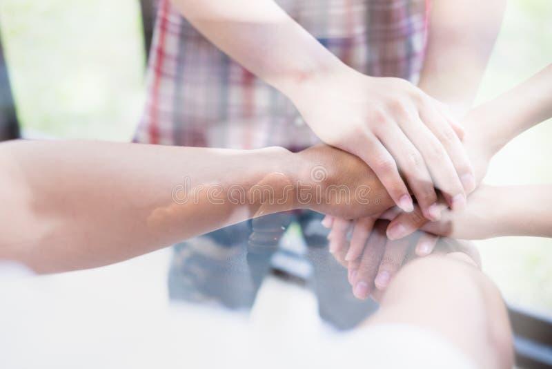 νέο ενώνοντας χέρι φοιτητών πανεπιστημίου, επιχειρησιακή ομάδα σχετικά με τα χέρια στοκ εικόνα με δικαίωμα ελεύθερης χρήσης