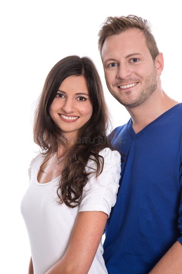 Νέο ευτυχές ζεύγος ερωτευμένο - απομονωμένος στο λευκό. στοκ εικόνες με δικαίωμα ελεύθερης χρήσης