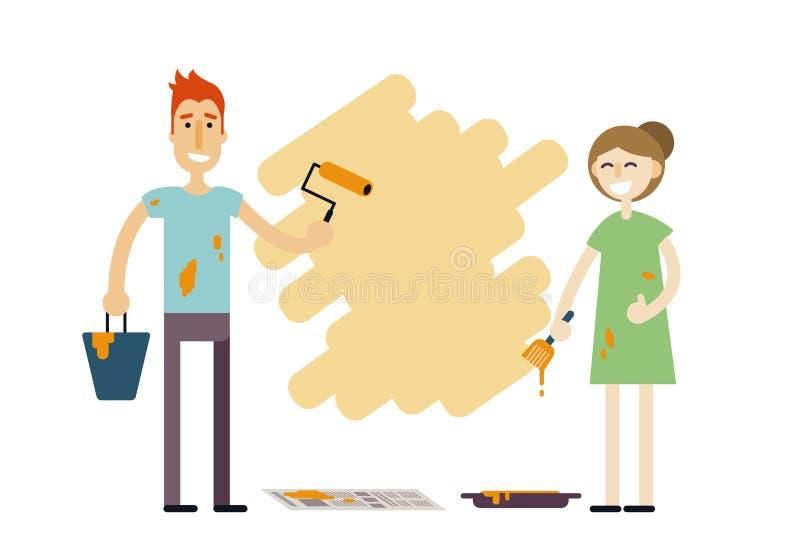 Νέο ευτυχές ζεύγος με τα εργαλεία χρωμάτων που κάνουν την επισκευή Redecorating σπίτι ανδρών και γυναικών Χαμογελώντας οικογένεια διανυσματική απεικόνιση