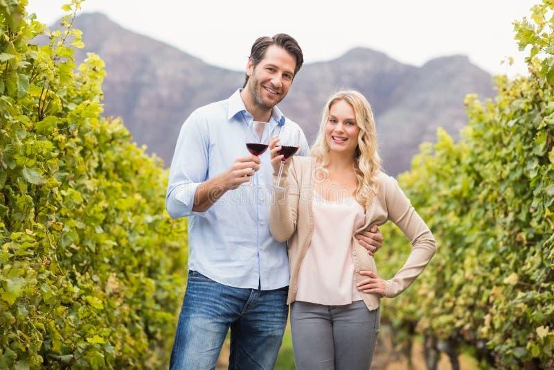 Νέο ευτυχές ζεύγος που κρατά ένα ποτήρι του κρασιού και που εξετάζει τη κάμερα στοκ εικόνες
