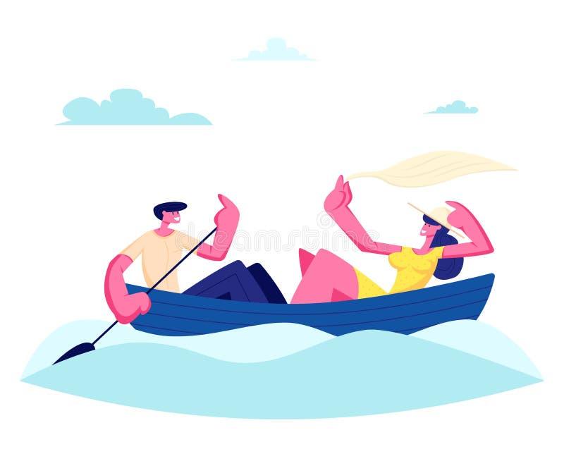 Νέο ευτυχές ζεύγος της επιπλέουσας βάρκας ανδρών και γυναικών στην επιφάνεια νερού Αρσενικός χαρακτήρας που κωπηλατεί με το κουπί ελεύθερη απεικόνιση δικαιώματος