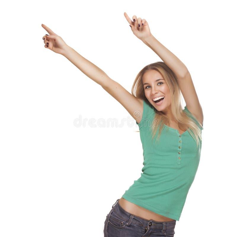 Νέο ευτυχές κορίτσι που απομονώνεται στοκ φωτογραφία