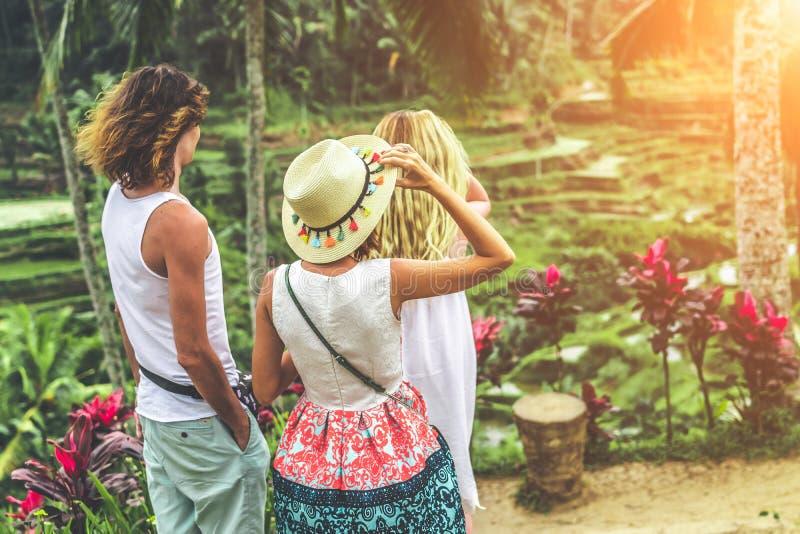 Νέο ζεύγος μήνα του μέλιτος στους τομείς ρυζιού του νησιού του Μπαλί Διακοπές ταξιδιού στην έννοια του Μπαλί στοκ εικόνες