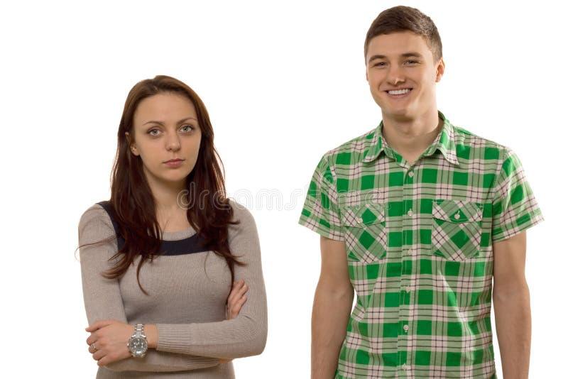 Νέο ζεύγος με τα προβλήματα σχέσης, στο λευκό στοκ εικόνα με δικαίωμα ελεύθερης χρήσης