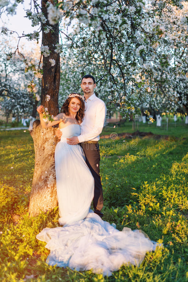 Νέο ζεύγος που αγκαλιάζει στο ηλιοβασίλεμα στον ανθίζοντας κήπο άνοιξη Αγάπη και ρομαντικό θέμα στοκ φωτογραφία