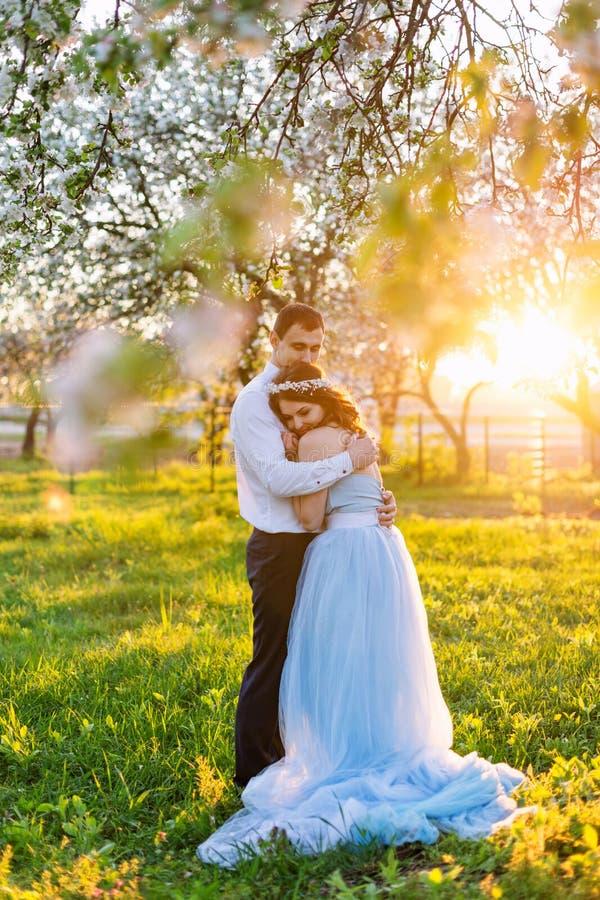 Νέο ζεύγος που αγκαλιάζει στο ηλιοβασίλεμα στον ανθίζοντας κήπο άνοιξη Αγάπη και ρομαντικό θέμα στοκ φωτογραφία με δικαίωμα ελεύθερης χρήσης