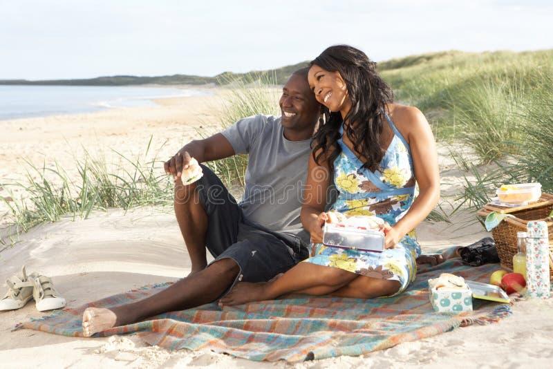 Νέο ζεύγος που απολαμβάνει Picnic στην παραλία στοκ φωτογραφία με δικαίωμα ελεύθερης χρήσης