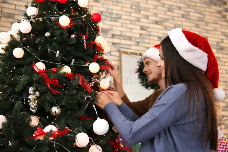 Νέο ζεύγος που διακοσμεί το χριστουγεννιάτικο δέντρο στο σπίτι στοκ εικόνες με δικαίωμα ελεύθερης χρήσης