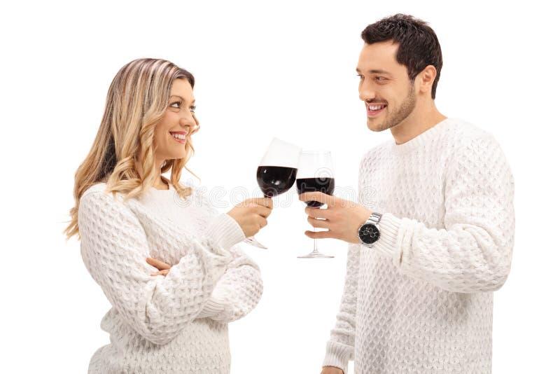 Νέο ζεύγος που κατασκευάζει μια φρυγανιά με το κρασί στοκ εικόνα
