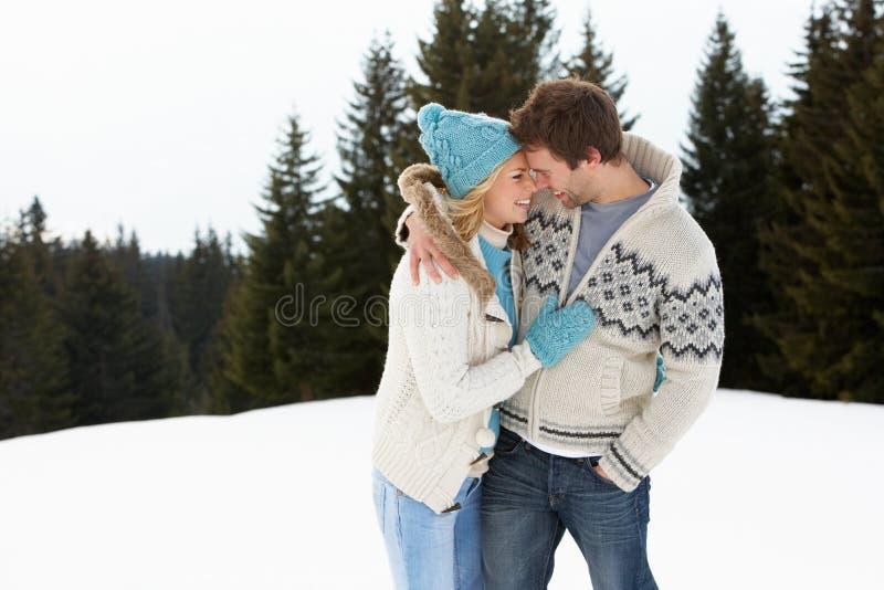 Νέο ζεύγος στην αλπική σκηνή χιονιού στοκ εικόνα με δικαίωμα ελεύθερης χρήσης