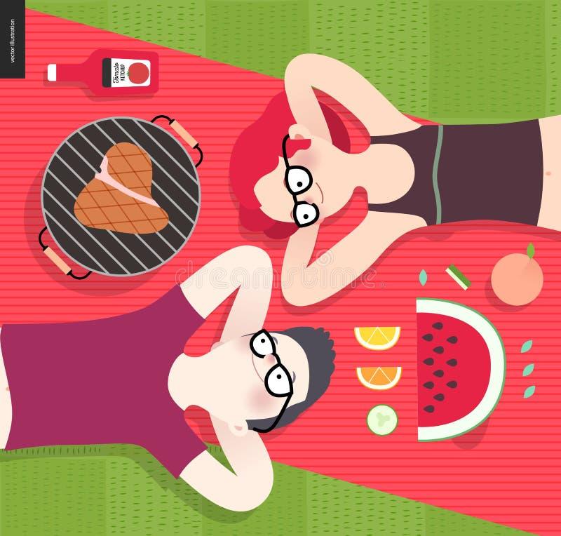 Νέο ζεύγος στο πικ-νίκ, τοπ άποψη, χορτοφάγος εναντίον του τρώγοντος κρέατος ελεύθερη απεικόνιση δικαιώματος