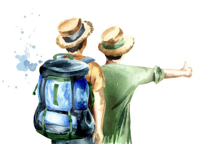 Νέο ζεύγος των οδοιπόρων, hitchhiker, που απομονώνεται στο άσπρο υπόβαθρο Συρμένη χέρι απεικόνιση Watercolor απεικόνιση αποθεμάτων