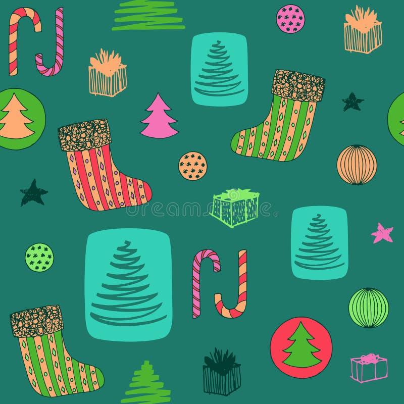 Νέο ζωηρόχρωμο άνευ ραφής σχέδιο έτους με τη γυναικεία κάλτσα Χριστουγέννων, καραμέλα, χριστουγεννιάτικο δέντρο, δώρα ANG σφαιρών ελεύθερη απεικόνιση δικαιώματος