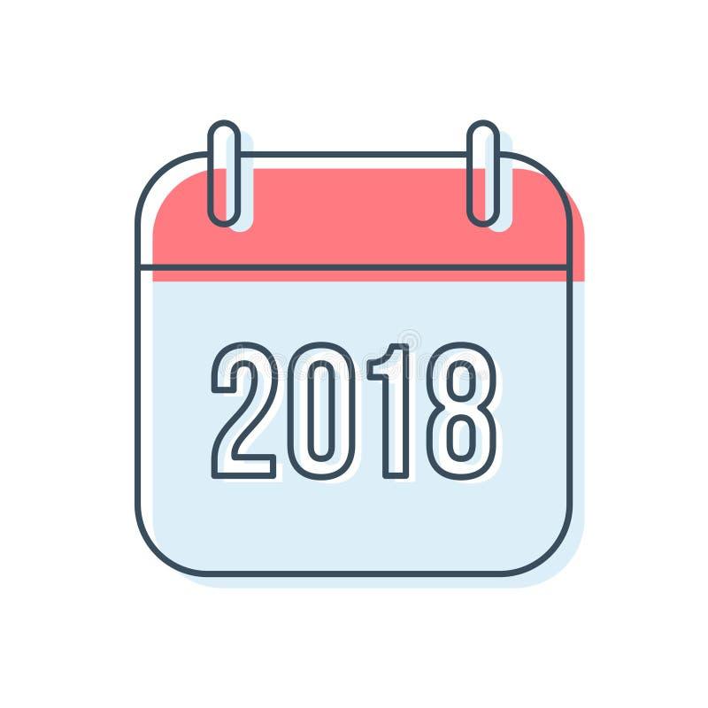 Νέο ημερολογιακό διανυσματικό εικονίδιο έτους 2018 απεικόνιση αποθεμάτων