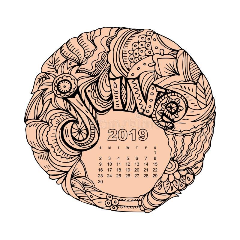 Νέο ημερολογιακό πλέγμα έτους με την εγγραφή Ιούνιος εμπνευσμένο στο zentangle ύφος Mandala Χριστουγέννων Μονοχρωματικός γραφικός ελεύθερη απεικόνιση δικαιώματος
