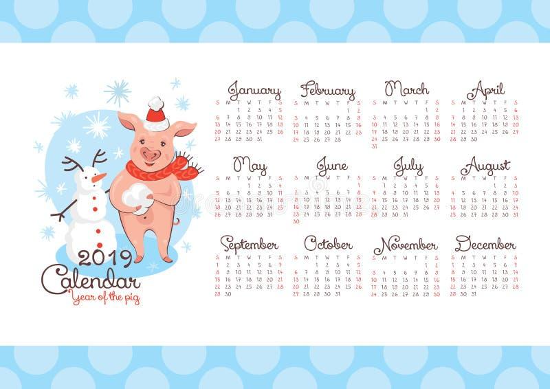 2019 νέο ημερολόγιο έτους με έναν χοίρο και έναν χιονάνθρωπο διανυσματική απεικόνιση