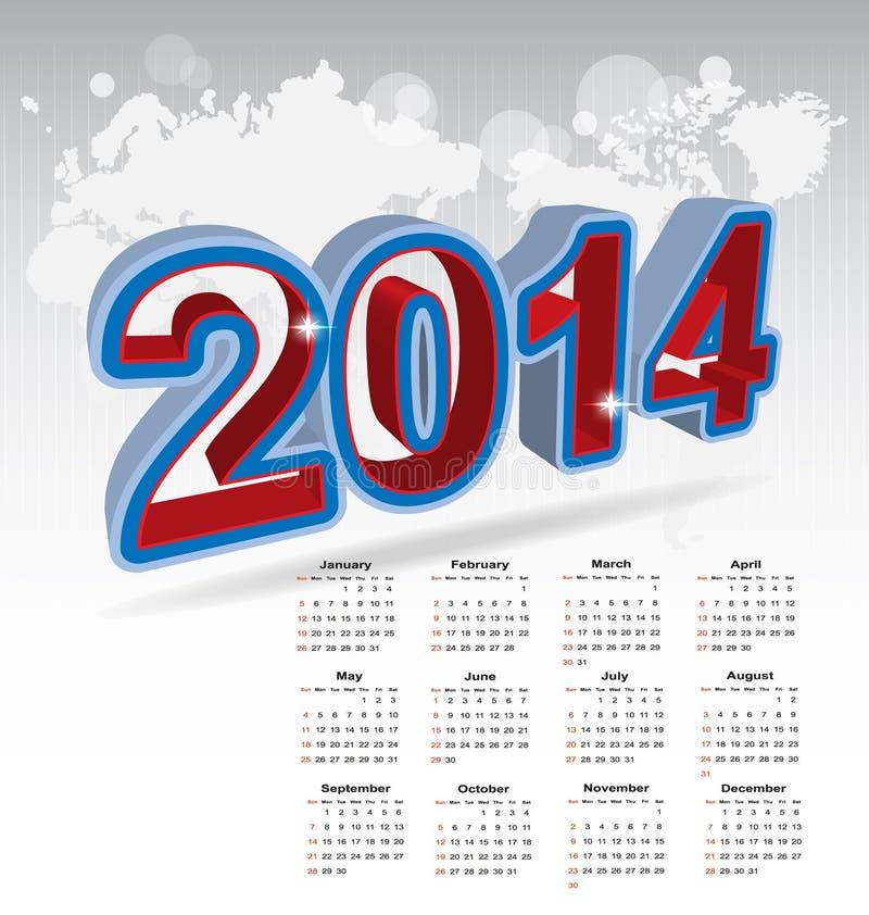 Νέο ημερολόγιο έτους 2014 ελεύθερη απεικόνιση δικαιώματος