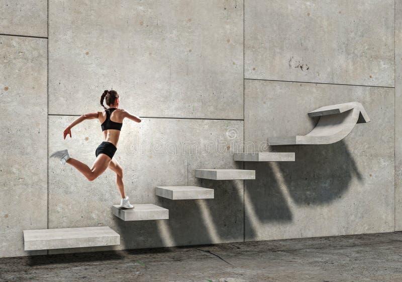 Νέο θηλυκό αθλητών που αναρριχείται στα σκαλοπάτια πετρών που επεξηγούν την ανάπτυξη σταδιοδρομίας και την έννοια επιτυχίας r στοκ φωτογραφία