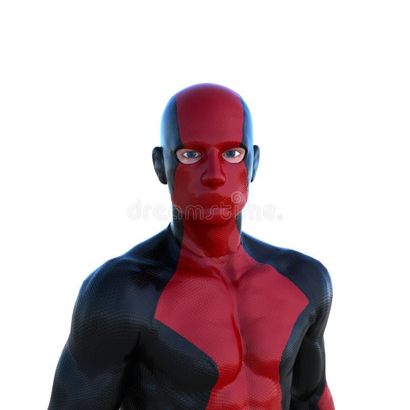 Νέο ισχυρό άτομο σε ένα κόκκινο και μαύρο έξοχο κοστούμι Να σταθεί κοντά μπροστά από τη κάμερα απεικόνιση αποθεμάτων