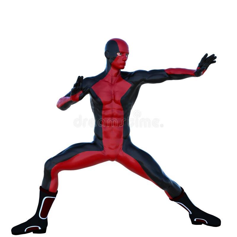 Νέο ισχυρό άτομο σε ένα κόκκινο και μαύρο έξοχο κοστούμι Οι στάσεις σε μια πάλη θέτουν διανυσματική απεικόνιση