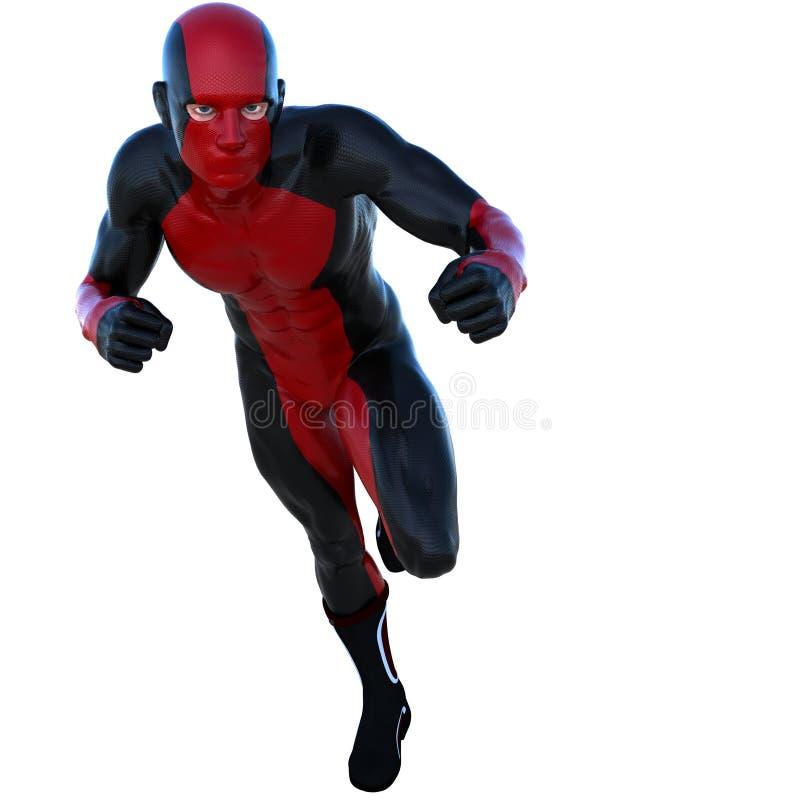 Νέο ισχυρό άτομο σε ένα κόκκινο και μαύρο έξοχο κοστούμι Τρεξίματα στη αριστερή πλευρά καμερών απεικόνιση αποθεμάτων