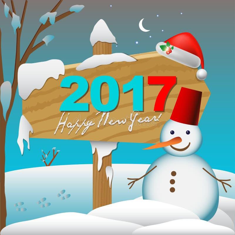 2017 νέο κάρτα ή υπόβαθρο έτους Happay με το χιονάνθρωπο, απεικόνιση αποθεμάτων