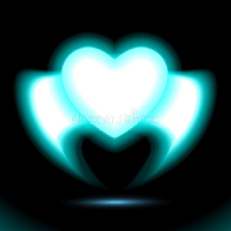 Νέο καρδιών με τα φτερά, μπλε ακτινοβόλος επίδραση πυράκτωσης της αγάπης με το διάστημα για την ημέρα βαλεντίνων Διακοσμητικό σχέ διανυσματική απεικόνιση