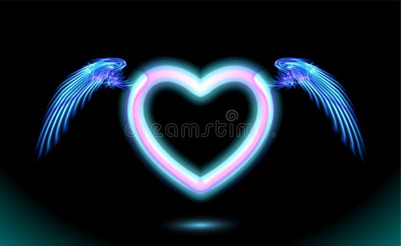 Νέο καρδιών anime με τα φτερά, μπλε ακτινοβόλος επίδραση πυράκτωσης της αγάπης με το διάστημα για την ημέρα βαλεντίνων Διακοσμητι ελεύθερη απεικόνιση δικαιώματος