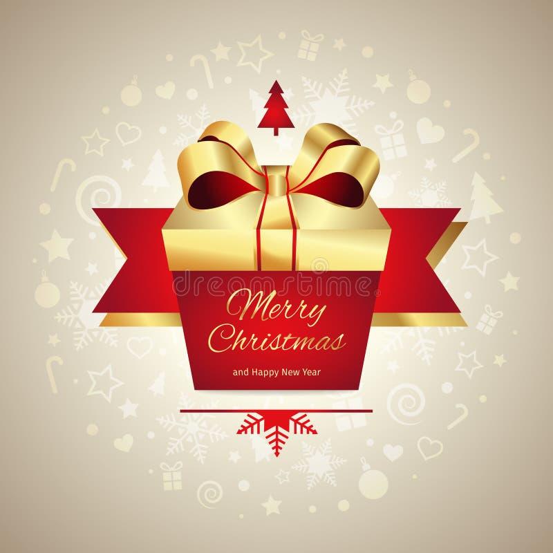 Νέο κιβώτιο δώρων ευχετήριων καρτών έτους Χαρούμενα Χριστούγεννας με τη χρυσή κόκκινη κορδέλλα, διανυσματική απεικόνιση ελεύθερη απεικόνιση δικαιώματος