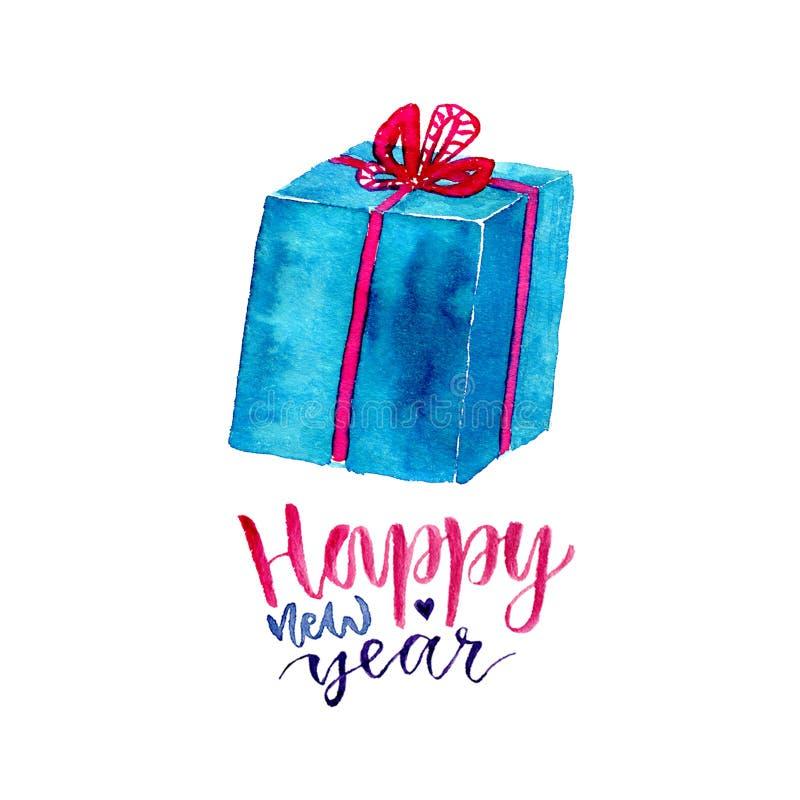 Νέο κιβώτιο δώρων έτους Watercolor με τη σύγχρονη καλλιγραφία Ευχετήρια κάρτα εορτασμού ελεύθερη απεικόνιση δικαιώματος