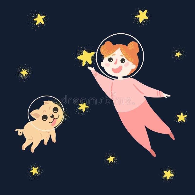 Νέο κορίτσι και το σκυλί της στο διάστημα, που φορά τα κράνη απεικόνιση αποθεμάτων