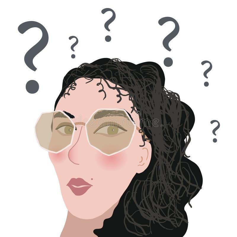 Νέο κορίτσι με τα γυαλιά συγκεχυμένο και έκπληκτο ελεύθερη απεικόνιση δικαιώματος