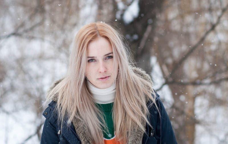 Νέο κορίτσι με τα μακριά ξανθά μαλλιά σε ένα θολωμένο υπόβαθρο ενός χιονώδους χειμερινού πάρκου στοκ εικόνα με δικαίωμα ελεύθερης χρήσης