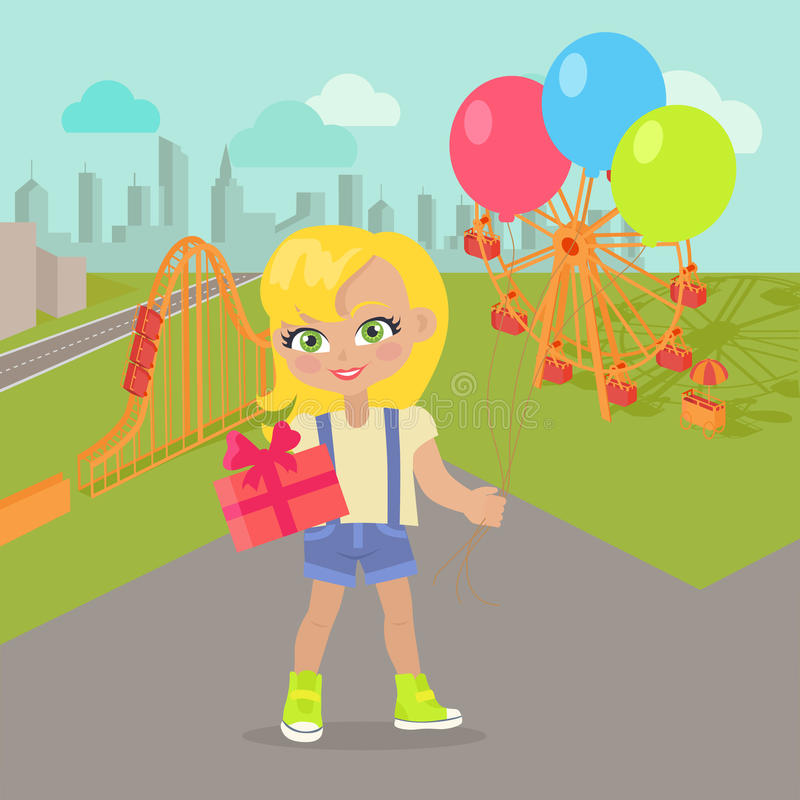 Νέο κορίτσι με τα μπαλόνια και παρόν κιβώτιο στο πάρκο απεικόνιση αποθεμάτων
