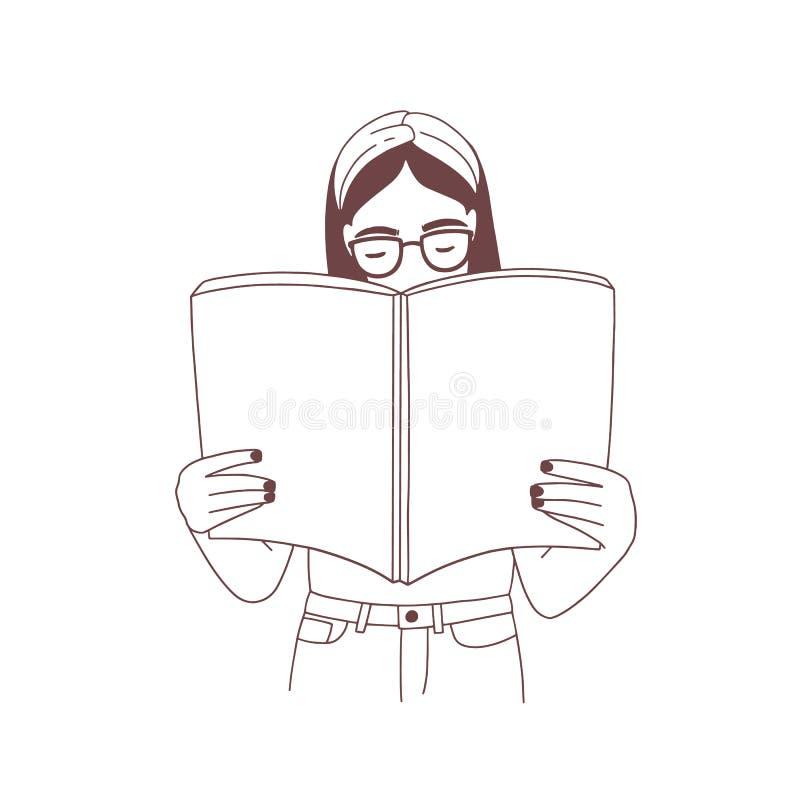Νέο κορίτσι με headband και γυαλιά που διαβάζουν το βιβλίο ή που προετοιμάζονται για την εξέταση Πορτρέτο της έξυπνης γυναίκας σπ διανυσματική απεικόνιση