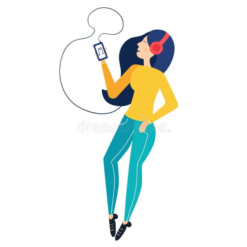 Νέο κορίτσι που ακούει τη μουσική στα ακουστικά από το τηλέφωνο Απλό σύγχρονο επίπεδο χαρακτήρα διανυσματική απεικόνιση