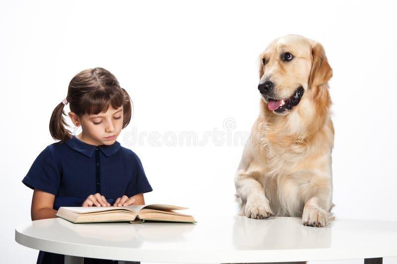 Νέο κορίτσι που διαβάζει στο σκυλί της στοκ εικόνες