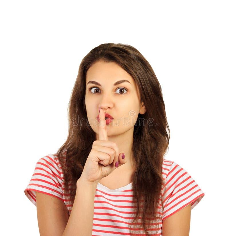 Νέο κορίτσι που κάνει τη χειρονομία σιωπής συναισθηματικό κορίτσι που απομονώνεται στο άσπρο υπόβαθρο στοκ φωτογραφίες με δικαίωμα ελεύθερης χρήσης