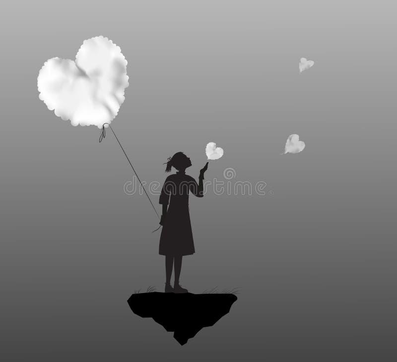 Νέο κορίτσι που κρατά την άσπρη καρδιά σύννεφων, ημέρα βαλεντίνων, ρομαντικός χρόνος στο dreamland, γραπτό, στοκ φωτογραφία