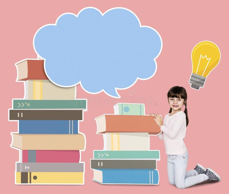 Νέο κορίτσι που μελετά και που διαβάζει τα βιβλία στοκ φωτογραφία