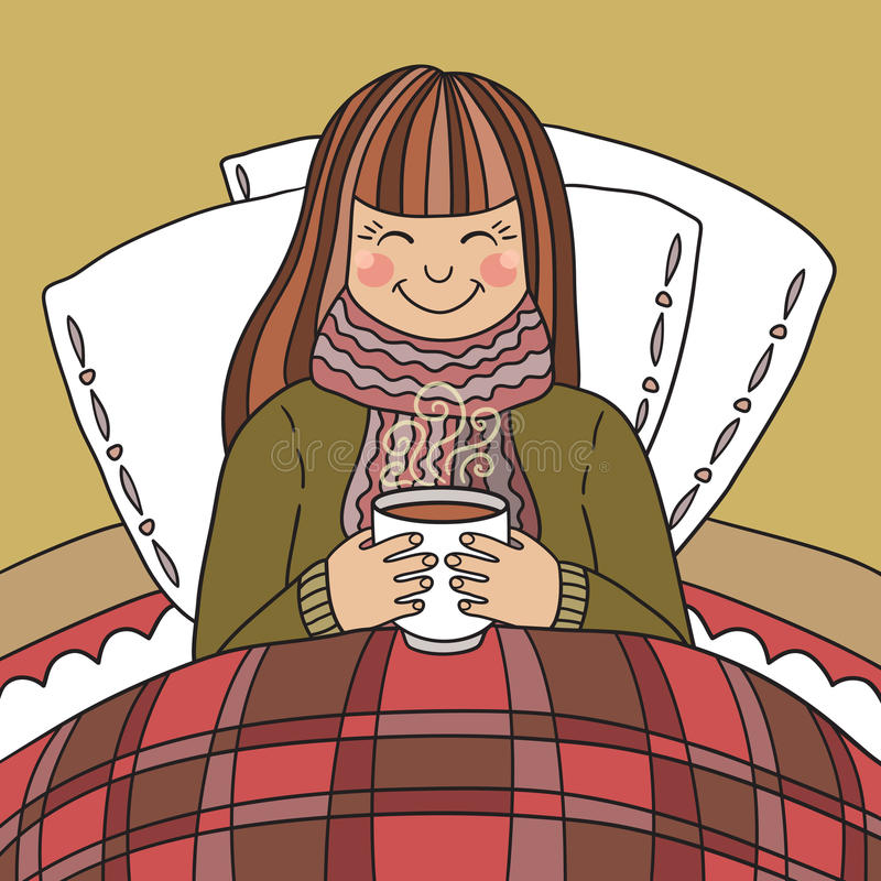 Νέο κορίτσι που πίνει το καυτό τσάι ελεύθερη απεικόνιση δικαιώματος