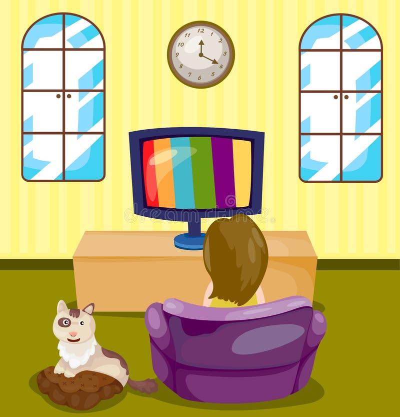 Νέο κορίτσι που προσέχει τη TV με τη γάτα ελεύθερη απεικόνιση δικαιώματος