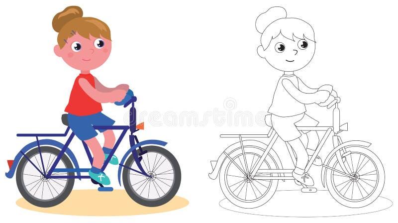 Νέο κορίτσι ποδηλατών που απομονώνεται και που χρωματίζει διανυσματική απεικόνιση