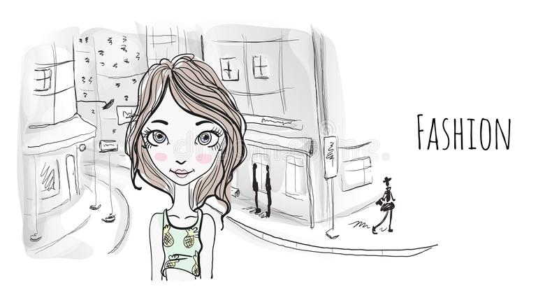 Νέο κορίτσι στην οδό μιας παλαιάς ευρωπαϊκής πόλης Διανυσματική απεικόνιση πορτρέτου στο ύφος σκίτσων διανυσματική απεικόνιση