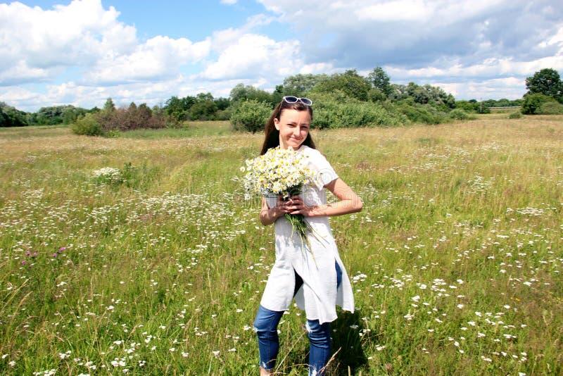 Νέο κορίτσι στο chamomile τομέα το καλοκαίρι στοκ εικόνες με δικαίωμα ελεύθερης χρήσης